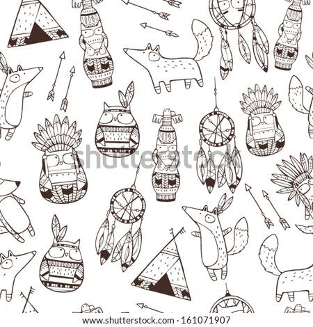 set of vector hand drawn indian