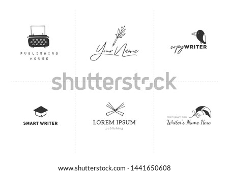 Set of vector hand drawn logo templates. Writing, publishing and copywrite theme. For business identity and branding, for writers, copywriters and publishers, for poets, journalist and bloggers.