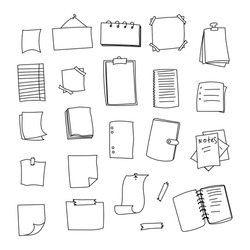 Set of vector hand-drawn stationery. Black and white doodle notebooks, to do lists, notepads, paper notes and sheets of paper.