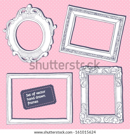 Set of vector hand drawn vintage frames.