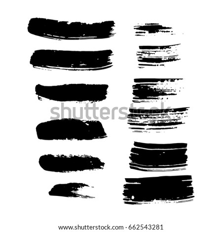 set of vector hand painted brush strokes isolated on white #662543281