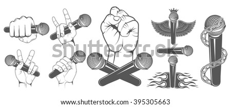 set of vector hands with