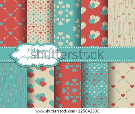 set of vector heart Valentines day pattern paper for scrapbook