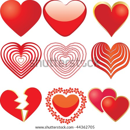 Set of 9 vector hearts