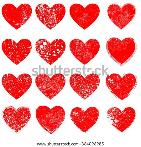 set of vector hearts  grunge