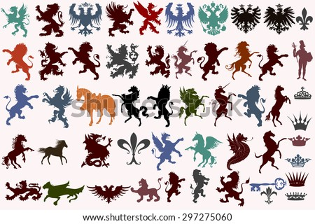 set of vector heraldic shapes