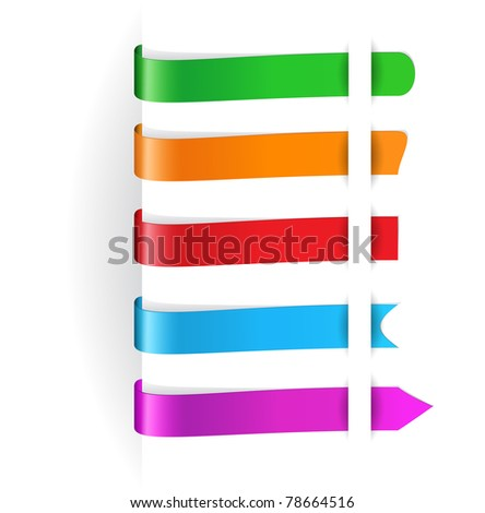 set of vector horizontal multicolored paper tags for any items. EPS 10.