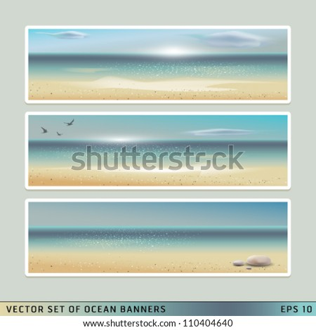 Set of Vector horizontal Summer Beach, Ocean Banners. Graphic Design Editable For Your Design.