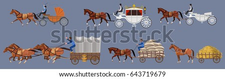stock-vector-set-of-vector-horse-drawn-vehicle-vector-illustration