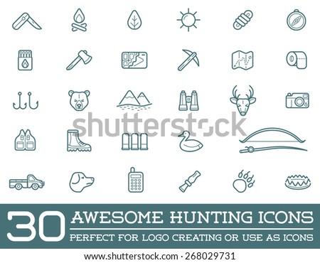 set of vector hunting camping