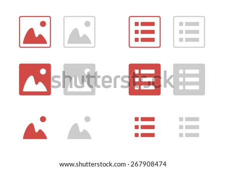 Set of vector icon, filter, image and list