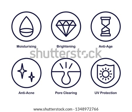 Set of 6 Vector Icon with Cosmetic Properties and Effects. Dark Blue.