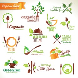 Set of vector icons and elements for organic food