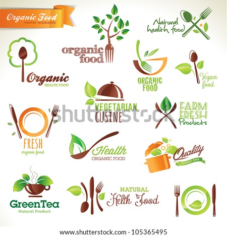 Set of vector icons and elements for organic food - stock vector