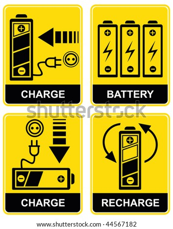 Set of vector icons - charging and recharging the accumulator battery. Yellow and black. Pictograms.