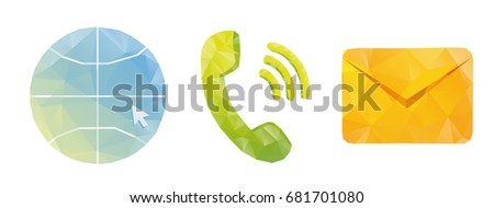 Set of vector icons communication internet mail phone polygonal