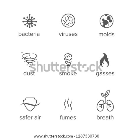 Set of vector icons. Concept of air purification, microbiology, airborne contaminants. Vector Illustration. EPS10 with layers. Easy to edit.