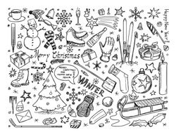 Set of Vector Icons Drawing Doodles - Winter, Christmas, New Year Theme Design