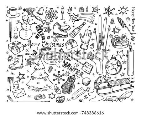 set of vector icons drawing