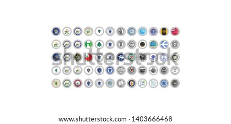 Set of vector icons. Flags and seals of Maine and Massachusetts states, USA. 3D illustration.
