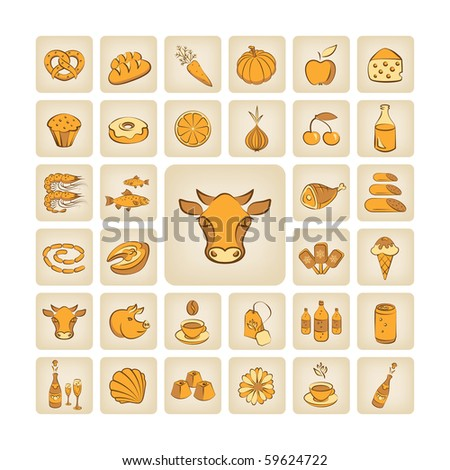 set of vector icons, food theme