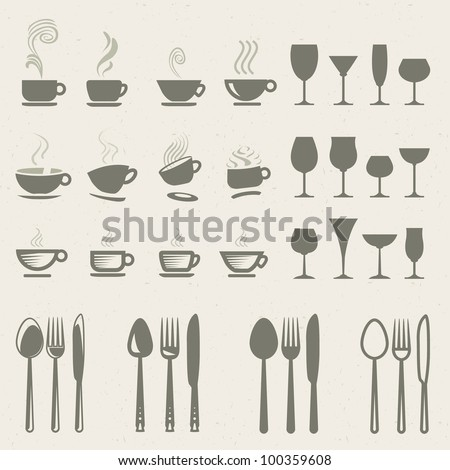 Set of vector icons for food and drink