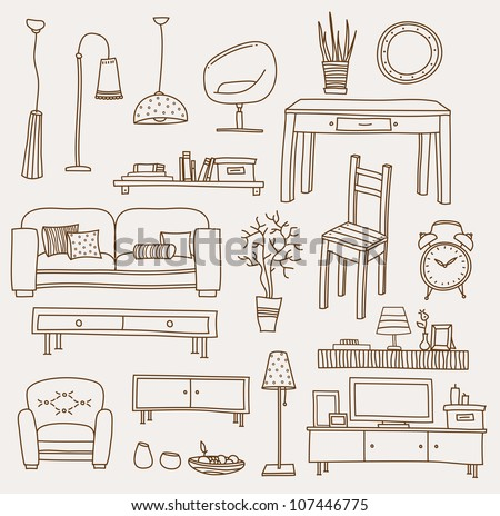 set of vector icons for living