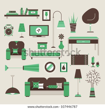 Set of vector icons for living room