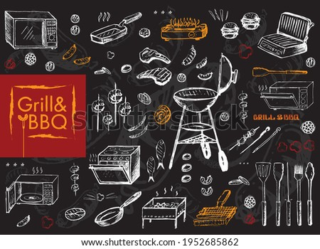 Set of vector icons. Grill and barbecue. Equipment for frying, grill, stove, microwave, pans, appliances, tongs. Food grill and BBQ, shish kebab, meat steak, fish, sausages, vegetables. Chalk drawing.