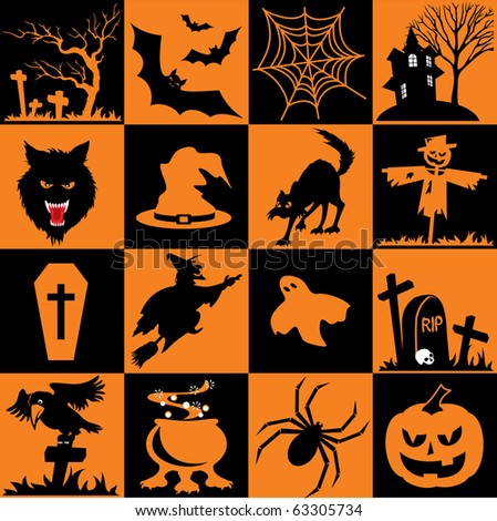 Set of vector icons. Images for Halloween