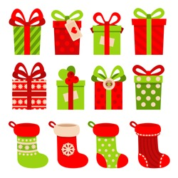 Set of vector icons in flat style for Christmas. Stylish set of gifts and Christmas socks.