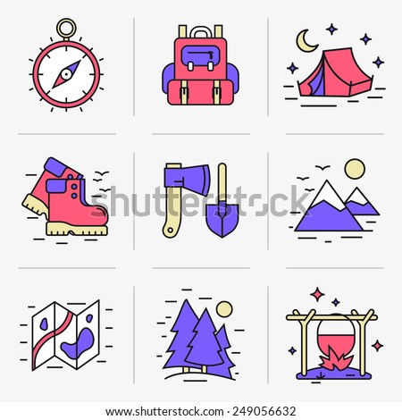 Set of vector icons into flat style. Equipment for outdoor activities, hiking and breaking camp, outdoor recreation. Isolated Objects in a Modern Style for Your Design.