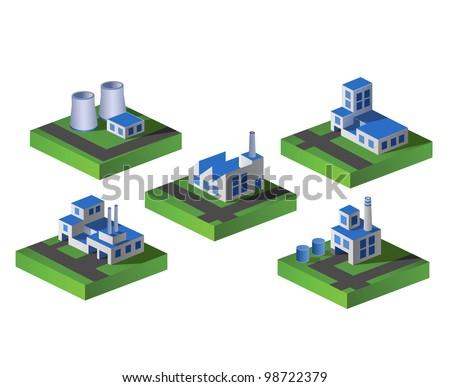 Set of vector icons isometric to the city theme