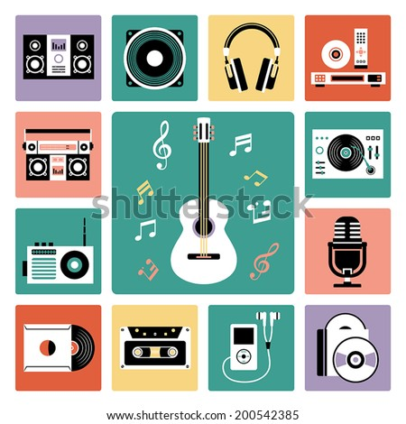 Set of vector icons of audio and musical instrument.