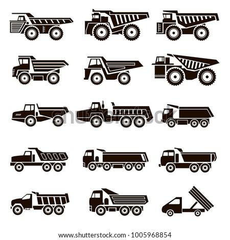 Set of 15 vector icons of black trucks on white background