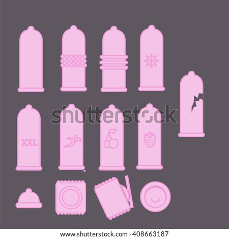 set of vector icons of condoms