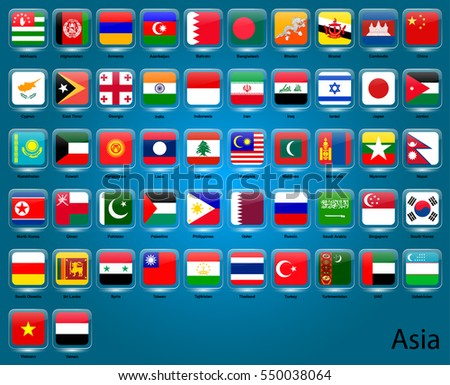 set of vector icons of flags in