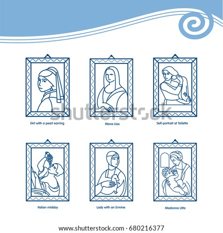 Set of vector icons of paintings by famous artists. Mona Lisa, the portrait Serebryakova, lady with an ermine, Italian afternoon, the Madonna Litta, the girl with a pearl earring