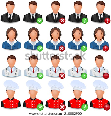 Set of vector icons of people of different professions - doctor, businessman, steering, dispatcher.