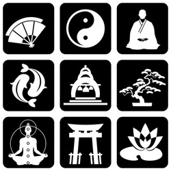 set of vector icons of religious buddhism signs and symbols