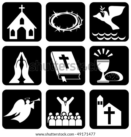 set of vector icons of religious christianity signs and symbols