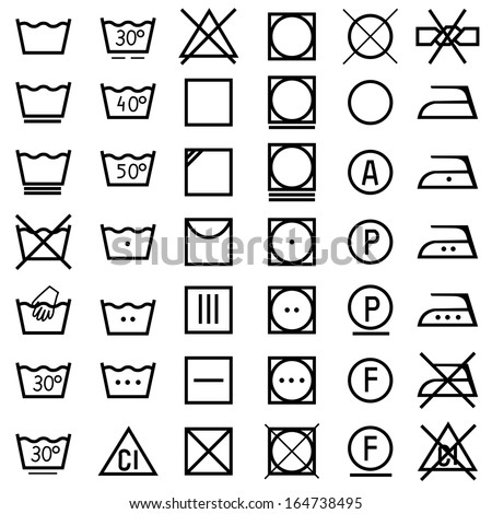 Set of vector icons on clothing label