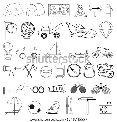 Set of vector icons on the theme of tourism.Tourism theme in icons for design.