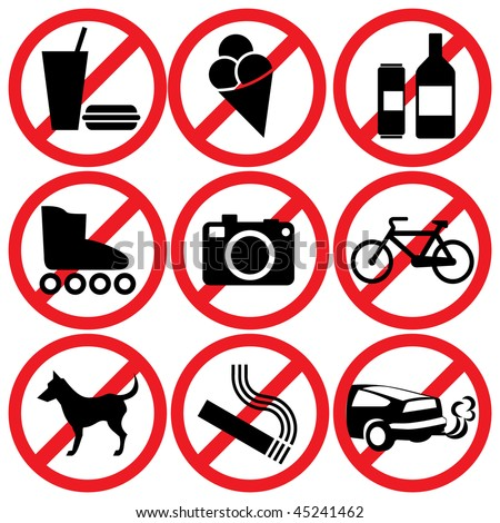 set of vector icons. Prohibitory information signs