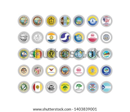 Set of vector icons. Seals of California state, USA. 3D illustration.