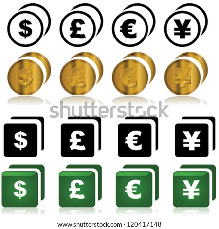Set of vector icons showing different currencies