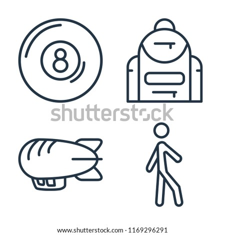 Set of 4 vector icons such as Billiard, Backpack, Airship, Walking, web UI editable icon pack, pixel perfect