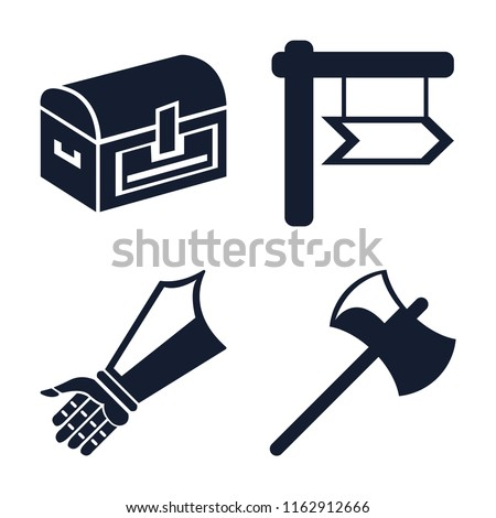 Stock Photo Set of 4 vector icons such as Chest, , Gauntlet, Axe, web UI editable icon pack, pixel perfect