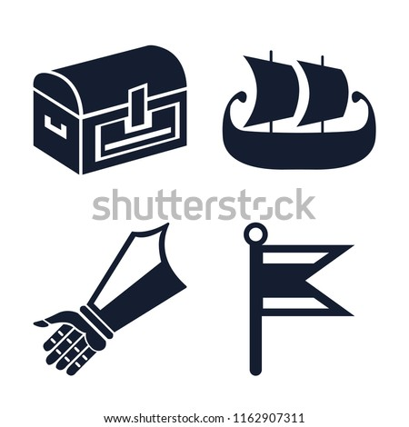 Stock Photo Set of 4 vector icons such as Chest, Ship, Gauntlet, Flag, web UI editable icon pack, pixel perfect