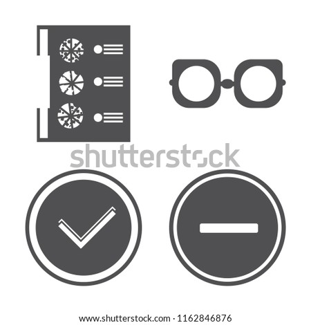 Set of 4 vector icons such as Menu, Eyeglasses, Checked, Substract, web UI editable icon pack, pixel perfect